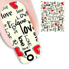 Nail Art Sticker Water Decals Transfer Stickers Valentines Love (XF1294)