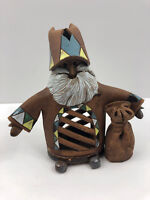 Vintage Folk Art Clay Pottery Lithuanian Santa Claus 2-Piece Figurine Christmas