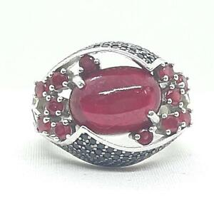 9.75ctw Mozambique Ruby & Spinel 925 Sterling Silver Ring Size 7.25 10.7g