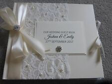Personalised Wedding Guest Book vintage lace ivory pearls with presentation box