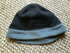 BOYS FALL WINTER HAT LAND'S END SIZE SMALL S GRAY BLACK FLEECE KIDS PULL ON COLD