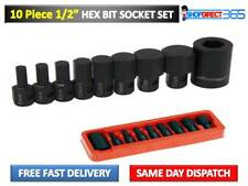 "ALLEN KEY / HEX BIT SOCKET SET 10 pc 1/2"" Drive 6mm to 19mm - H6 to H19 CT2526"