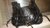 Francesco Biasia Handbag* Black Crumpled Leather Double Handles Made In Italy