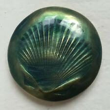GRAND BOUTON  ANTIGONA - Métal doré, décor émaillé vert bleuté 45 mm