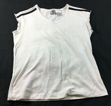 Athletic Works white pullover top with black stripes on shoulders, size 4/6
