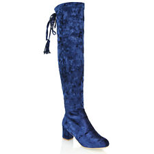 New Womens Over The Knee High Low Heel Block Ladies Strechty Thigh High Boot