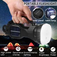Solar Flashlight LED Rechargeable Torch Work Light Hiking Spotlight Hand