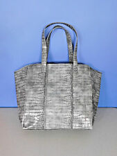 NEIMAN MARCUS SILVER, GRAY TOTE, SHOULDER BAG, HANDBAG, PURSE