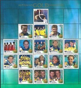 2000 Australia Last MUH Sydney Olympics 17x45c Medalists Sheet + Torch and Flame