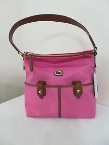 Dooney & Bourke PINK NYLON North South Zipper Sac Shoulder Bag NEW
