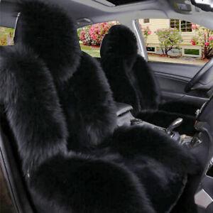 Black Premium Quality Australian Sheep Skin Car Long Wool Front Seat Covers Mats