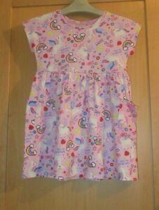 GIRLS 2-3 YEARS PINK DRESS rainbows,unicorns,flowers,stars