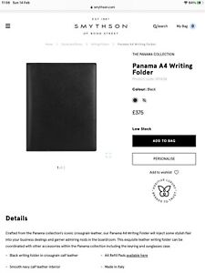 Smythson A4 Black Panama Writing Folder