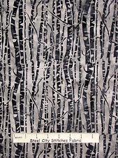 Batik Fabric - Nature Tree Trunk Linear Gray M2700 Hoffman Indonesian - YARD