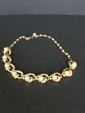 Vintage Signed Lisner Gold Tone Faux Pearl Sparkle Rhinestone Necklace