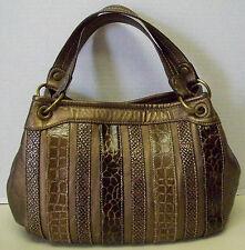 Relic By Fossil Metallic Brown Croc Snake Leopard Satchel Handbag Tote Purse