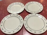 """LONGABERGER Set Of 4 WOVEN TRADITIONS CLASSIC BLUE DINNER PLATES 10.25"""" USA"""