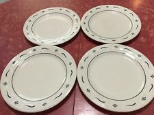 "Longaberger Set Of 4 Woven Traditions Classic Blue Dinner Plates 10.25"" Usa"
