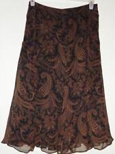 RALPH LAUREN Brown Black Paisley Silk Chiffon Shirred Tier Ruffle Full Skirt XL