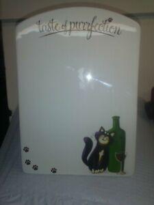 Epic Ceramic Dry Erase Memo Standing Board Cat & Wine Theme Great Gift! (BB)