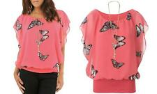 Women's Butterfly-Print Chiffon Ruffle Top with Necklace