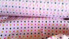 Stoffrest Baumwolle Stoff Kinder weiß rosa Blumen Herz Patchwor 1,75 m x 1,10 m