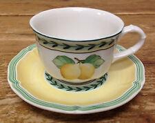 French Garden Fleurence Villeroy Boch Flat Cup Saucer Set Fruit Lemon Louis XIV