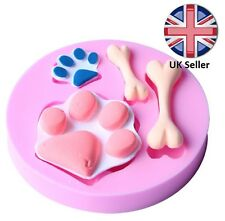 3D Dog Paw and Bone Silicone Mould, cake Icing decoration Animal Pet Paw Patrol