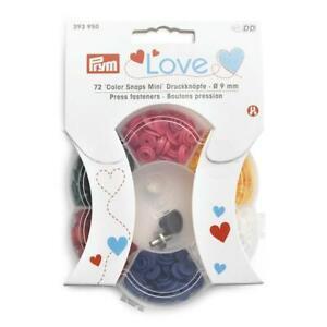 Prym Love ⌀ 9mm 'Mini' Color Snaps Press Fasteners 72 sets & Tools 393950