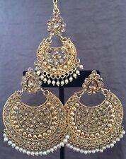Jhumka Indian Earrings Jhumki Tikka Kundan Bollywood Jewelry Polki  Gold Set USA