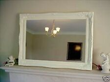 "PLAIN CREAM ORNATE LARGE WALL MIRROR - 26"" x 36"" (65cm x 90cm) - Superb Quality"