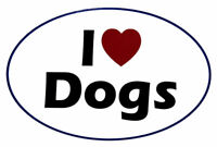 I Love (Heart) Dogs Oval White Vinyl Decal Bumper Sticker