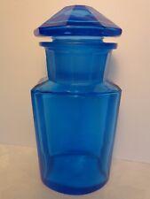 Antique Blue Glass Apothecary Jar Bottle Blown Polished 10 Facet Cut Lid Pontils