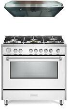"""Verona Designer Series Vdfsgg365W 36"""" All Gas Range Oven With Hood White"""