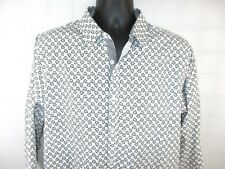 GALAXY by HARVIC White patterned L/S button front casual shirt Mens SZ L
