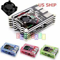 9L Clear Acrylic Case Shell Enclosure Box Cooling Fan For Raspberry Pi 3 Model B