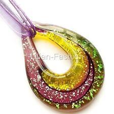 Silver Purple Teardrop Lampwork Glass Murano Bead Pendant Wax Ribbon Necklace
