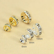 100pcs Wholesale Silver /Gold Plated Crystal Rondelle Spacer Beads 6mm