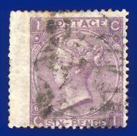 1867 SG97 6d Lilac (Hyphen) Plate 6 J74(2) CI Good Used CV-FU £180 agiq