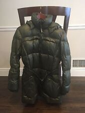 ADD Authentic Down Puffer Warm Jacket!!Forest Green Color Sz 10! Hooded &Belt!