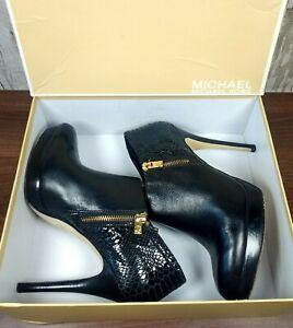MICHAEL KORS Black Leather Shoes Boots Gold Zip Heels STILETTO UK 7 US 9.5M