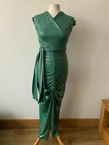 CBR Chic Boutique Rose Green Silver Dot Cross Over Ruched Long Dress Size S