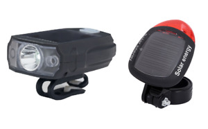 Solar bike light set, 3 modes, daylight and USB charge, front & tail beam, black