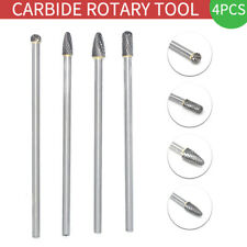 4 Pcs Cemented Carbide Long Rotary Files Double Cut Burr Set 6mm Shank Metal New