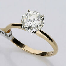 Diamond solitaire engagement ring 14K yellow gold 1 round brilliant 1.56CT NEW!!