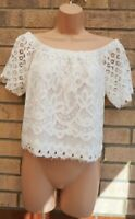 NEW LOOK LACE WHITE SHORT SLEEVE BAGGY BARDOT OFF SHOULDER BLOUSE TOP 8 S