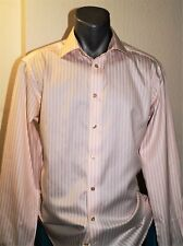 ETON GANGHESTER Pink White Striped Collared Formal Long Sleeve Double Cuff 41 16