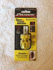 "PICQUIC TEENY TURNER Screwdriver - Small, Multi Bit, 7 Bits 1"" long - Yellow"