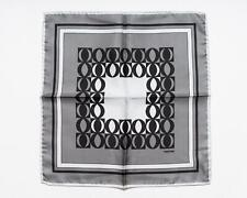 Tom Ford New $180 Shades of Gray Black Geometric Pattern 100% Silk Pocket Square
