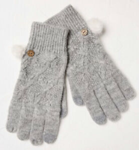 Fat Face Grey Pattern Cable Gloves BNWT One Size
